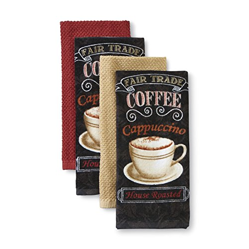 Essential Home 4-Piece Kitchen Towel Set - Morning Treat! - 100% Cotton Coffee Themed in Black, Tan and Rust (Black Coffee)