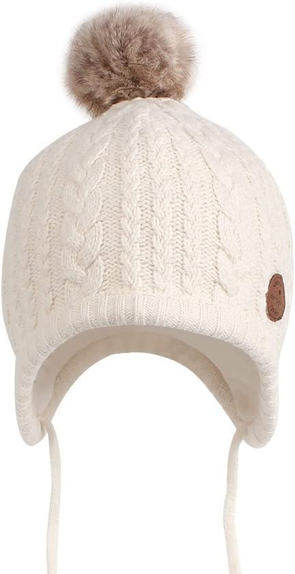 para ni/ños y ni/ñas dise/ño de gorro Gorro de punto con orejeras y cintas para la barbilla Pesci 2,2 tog