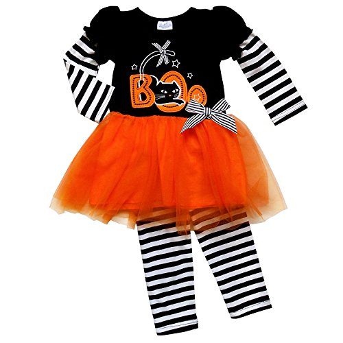 So Sydney Girls Halloween Pumpkin, Candy, or Cat - 2 Piece Ruffle Pants Outfit (L (5), Boo Stripes & (Candy Stripe Skirt)