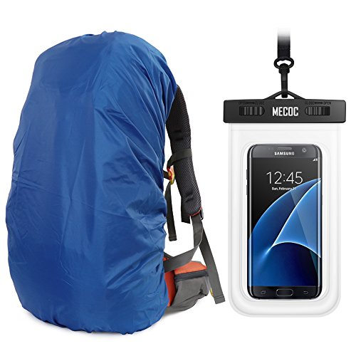 MECOC Orange Sport Ultralight Backpack Rain Cover with Pu Stored Bag and Cellphone Waterproof Case for Camping, Hiking, Cycling for iPhone 6S/6 etc.