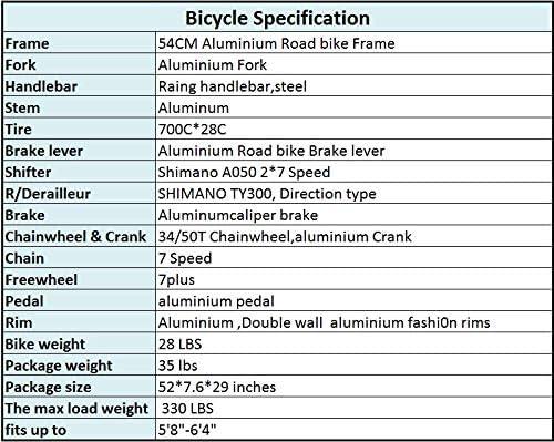 Eurobike OBK XC7000 Lightweight Aluminium Road Bike 700C Wheels Commuter Cycling Bicycle 14 Speed 54cm