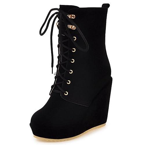 RAZAMAZA Botines de Tacon Alto con Cordones Plataforma para Mujer  Amazon.es   Zapatos y complementos 634ae1f6460ac