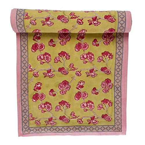 (Couleur Nature French Table Runner - Cherry Blossom Green and Blush - 16