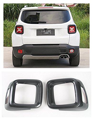 Tail Light Lamp Carbon - FMtoppeak Carbon Fibre Tail Rear Light Lamp Guard Cover Trim Frame ABS For Jeep Renegade 2014 UP