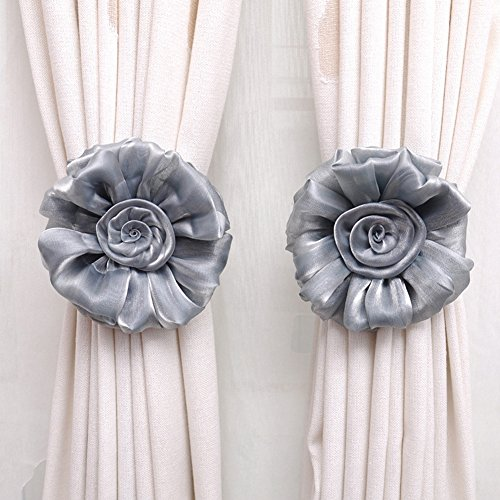 KeyZone Novelty 1 Pair Window Curtain Tieback Clip-on Rose Flower Grey