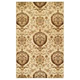 Superior Poplar Collection Area Rug, Traditional Gold Medallion Pattern, 10mm Pile Height with Jute Backing, Affordable Contemporary Rugs - 4' x 6'