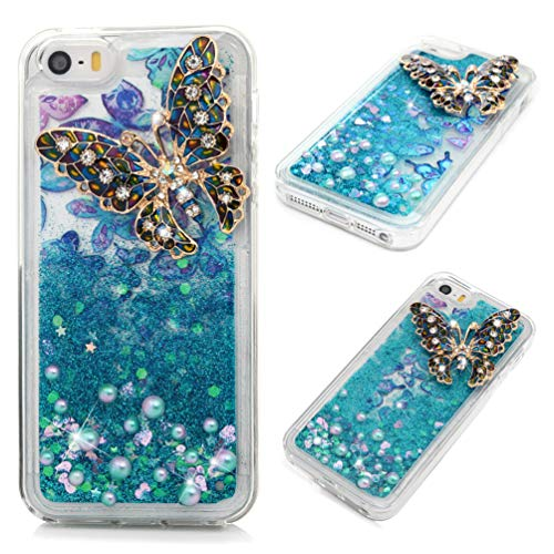 iPhone SE Case, Clear Liquid Glitter Case Bling Shiny Sparkle Flowing Moving Hearts 3D Diamonds Rhinestones Gems Shock Absorption TPU Bumper Drop Resistant Ultral TPU Cover for iPhone 5S - Butterfly