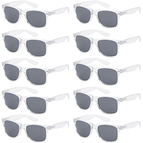 - WHOLESALE UNISEX 80'S RETRO STYLE BULK LOT PROMOTIONAL SUNGLASSES - 10 PACK (Crystal Clear/Smoke, 52)