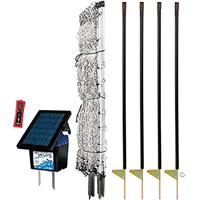 "Premier 48"" PoultryNet Plus Starter Kit - Includes White PoultryNet Plus Net Fence - 48"" H x 100' L, Double Spiked, Solar IntelliShock 60 Fence Energizer, FiberTuff Support Posts & Fence Tester"