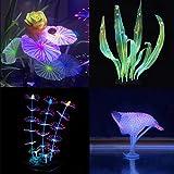 Lychee Aquarium Glowing Lotus Coral Decorations - Fish Tank Decoration Silicone Ornament,Eco-Friendly Glowing Artificia Aquarium Décor for Freshwater Saltwater Aquarium