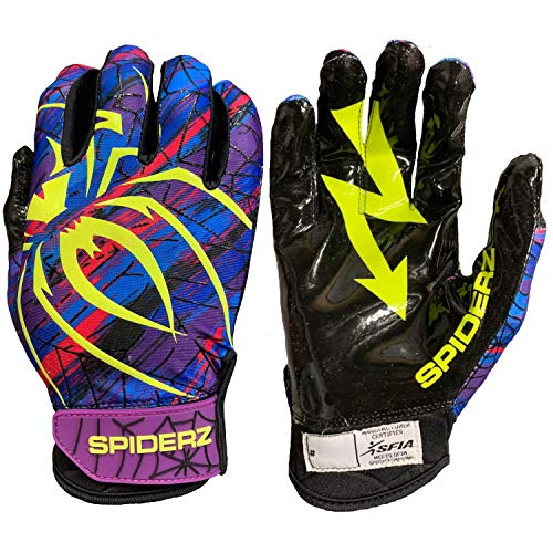 Spiderz RAW Extra Tacky Sticky Grip Football Receiver Gloves (High Voltage, Adult X-Small)