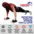Furious Fitwear Rotating Push Up Stands Set with Guide - Perfect Wide Grip Handle Bars for Upper Body Power Pushup Workouts for Shoulders, Arms, Chest & Gym Fitness Exercises for Men & Women