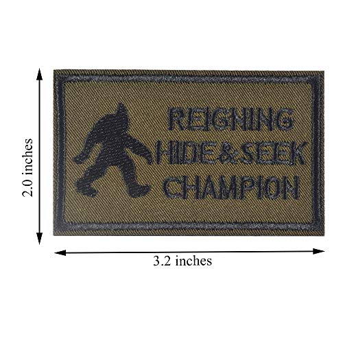 SHELCUP Reigning Hide & Seek Champion Tactical Morale Embroidery Patch Military for Tactical Gear, Green