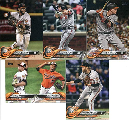 2018 Topps Update Series Baseball Baltimore Orioles Team Set of 5 Cards: David Hess/Pedro Araujo(#US29), Andrew Cashner(#US50), Jonathan Villar(#US80), Danny Valencia(#US163), Manny Machado(#US253)