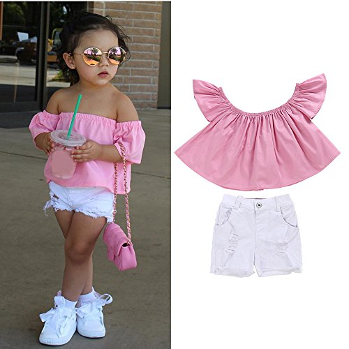TIFENNY Fashionable Girl Clothes Set Off Shoulder Tops+Demin Short Pants Outfit