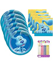 Blues Clues Party Supplies Pack Serves 16: Dessert Plates and Beverage Napkins with Birthday Candles (Bundle for 16)