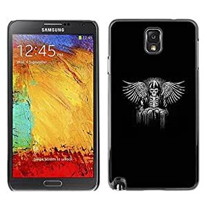 Colorful Printed Hard Protective Back Case Cover Shell Skin for SAMSUNG Galaxy Note 3 III / N9000 / N9005 ( Black Wings King Throne White Angel ) Kimberly Kurzendoerfer