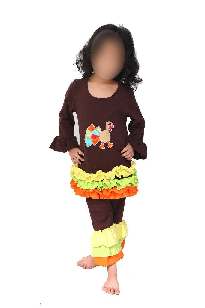 Baby Toddler Girls Thanksgiving Turkey Appliqued Pant Set 110