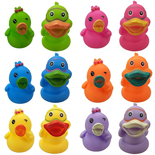 - CSPRING Creative Cute Duck Colored Soft Rubber Squeeze Sound Baby Wash Shower Bath Toys for Kids, Toddlers, Boys and Girls, 12PCS