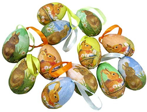 (12 Easter Egg Tree Ornaments with Ribbon Loops for Hanging (Brown)