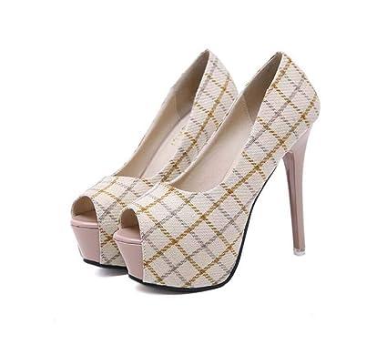 8b9a51b01e4e Mamrar 13Cm Stiletto Pump Peep Toe High Heels Women Sexy 5Cm Platform  Lattice Party Dress Shoes