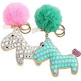 kilofly 2pc Faux Fox Fur Keychain Pom Pom Ball Pony Rhinestone Car Key Holder