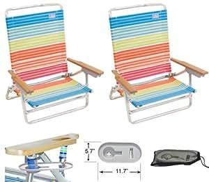 High Back Rio Beach Chair - 5 position LayFlat - Set of 2 Chairs