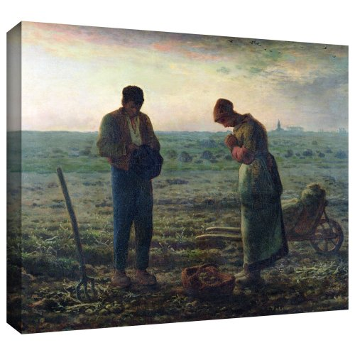ArtWall Jean Francois Millet's The Angelus Gallery Wrapped Canvas Art, 36 x 48