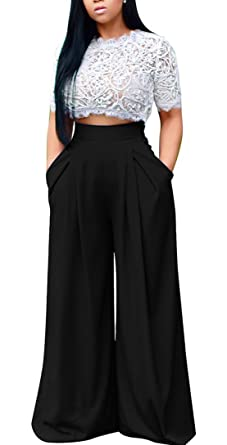 3d70c6532bd Women s Sexy 2 Piece Outfits Mesh See Through Crochet Lace Crop Top High  Waist Wide Leg