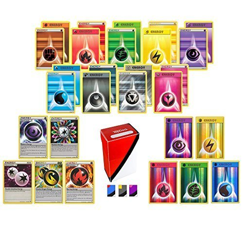 100 Pokemon Energy Cards includes 90 Basic Energy Cards, 5 Holo Energy Cards, 5 Special Non-Basic Energy Cards and Totem Deck Box