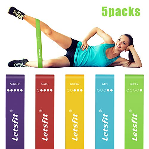 Letsfit Resistance Loop Bands, Resistance Exercise Bands for Home Fitness, Crossfit, Stretching, Strength Training, Physical Therapy, Natural Latex Workout Bands, Pilates Flexbands, 12
