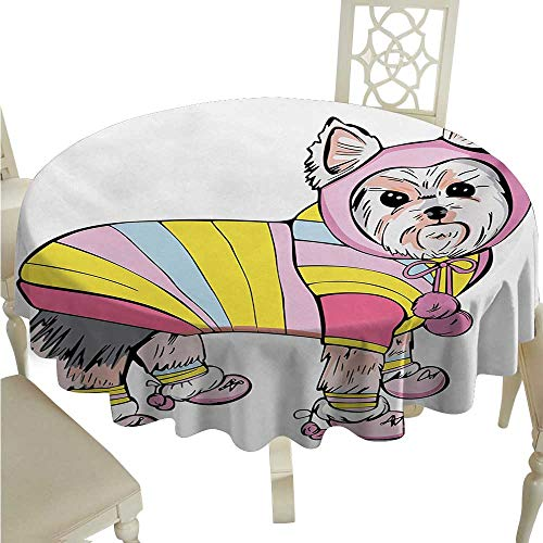 Yorkie Washable Table Cloth Cute Dog with Sports Gear on Running Gear on Going for a Walk Colorful Dress Fun Waterproof/Oil-Proof/Spill-Proof Tabletop Protector D54 Multicolor