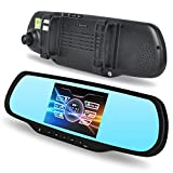 E-PRANCE® H700 Dual Lens Car GPS Backup Camera Rearview Mirror 1080P Full HD with Android 4.0.3 OS + 5