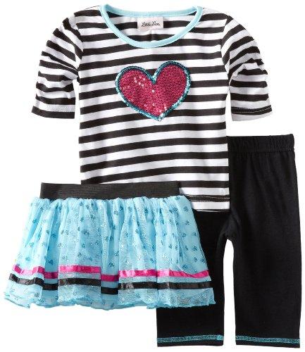 Little Lass Little Girls' Toddler 3 Piece Striped Tutu Set