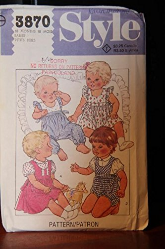 Style Pattern 3870 Babies 18 Months / Babies' Romper In Two Lengths, Dress Or Pinafore And Blouse