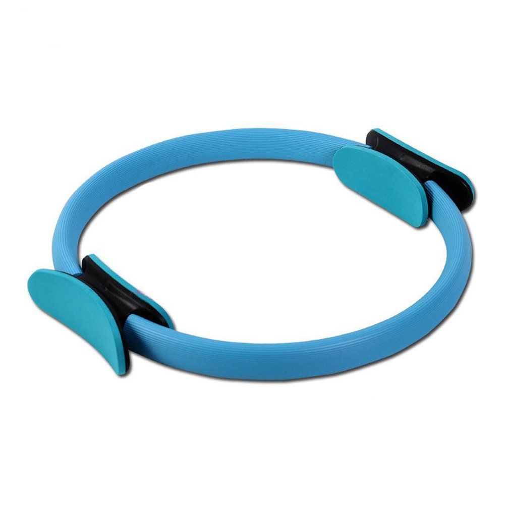 Heckia Pilates Ring, Pilates Magic Circle Dual Grip Handles Power Resistance Fitness Ring for Toning Thighs Abs and Legs for Women, Blue