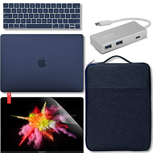 GMYLE New MacBook Latest Pro Touch Bar 13 Inch A1989 / A1706 / A1708 (2016,2017,2018 Release) Bundle, USB C Hub, Hard Case, Carrying Sleeve with Handle, Keyboard Cover & Screen Protector - Navy Blue