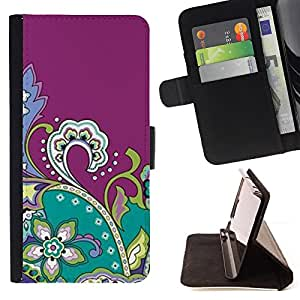 Jordan Colourful Shop - Drawing Purple Fractal Flowers For Apple Iphone 6 - Leather Case Absorci???¡¯???€????€?????????&A