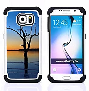 """Hypernova Híbrido Heavy Duty armadura cubierta silicona prueba golpes Funda caso resistente Para Samsung Galaxy S6 / SM-G920 [Puesta de sol Beautiful Nature 3""""]"""