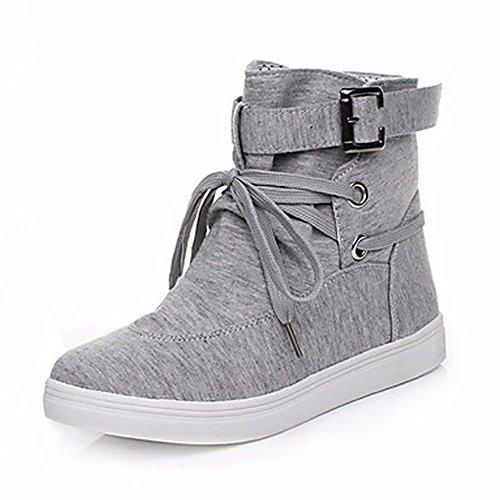 Zhudj Snow Donna Tessuto Lace Boots Winter Gray calf up Tonda Grigio Stivali Per Punta Mid Casual Scarpe Nero rIqpr