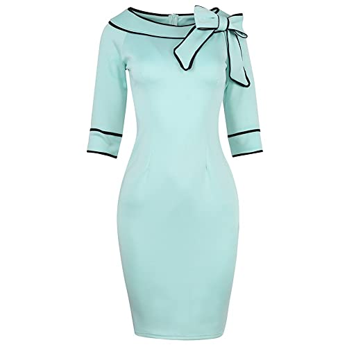 SYLVIEY Womens Chic Bow-knot Bodycon Wear to work Vintage Pencil Dress