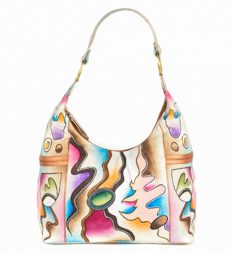 ZIMBELMANN BIANCA Genuine Nappa Leather Hand-painted Hobo Shoulder Bag by Zimbelmann
