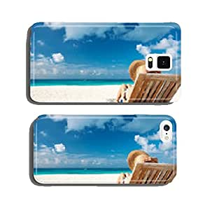 Young woman reading a book at beach cell phone cover case Samsung S6