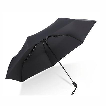 Paraguas Sombrilla súper Anti-Ultravioleta pequeño Negro Sol automático Plegable sombrilla Sol QIQIDEDIAN (Color