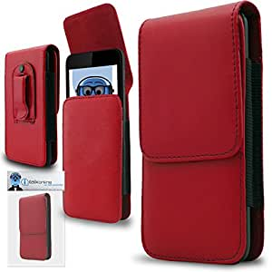 Red PREMIUM PU Leather Vertical Executive Side Pouch Case Cover Holster with Belt Loop Clip and Magnetic Closure for Alcatel One Touch Pop C1