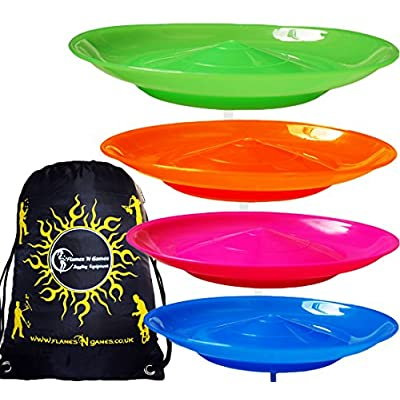 4x Spinning Plate Set (Pink/Orange/Green/Blue) CLASSIC Circus Spinning Plates + 2-Piece Plastic Sticks + Flames N Games Travel Bag! Great fun for Kids & Adults.: Toys & Games