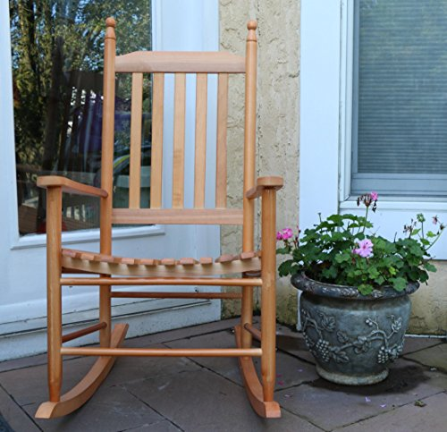 LIFE Home Oliver and Smith - Nashville Collection - Wooden Oak Patio Porch Rocker- Rocking Chair - Made in USA - 24.5