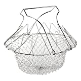 EpochAir Deep Fry French Chef Basket, Foldable Steam Rinse Strain Magic Stainless Steel Strainer Net Basket for Kitchen Cooking