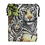 Tigers Family Print Drawstring Bag Rucksack Totes Gym Bag Party Favors for Kids