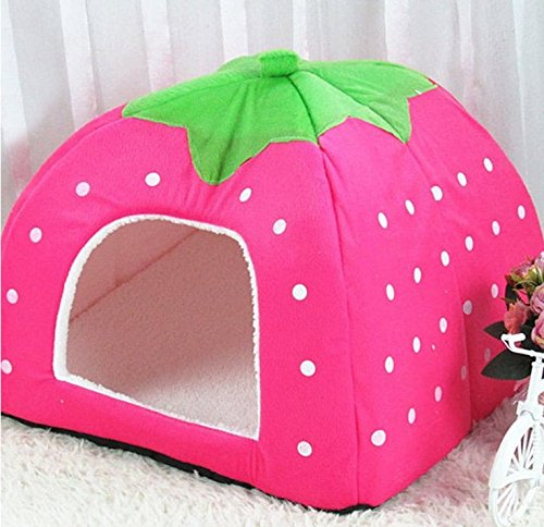 Cat Warmer Mat Cute Cashmere Foldable Strawberry Pet Nest Dog Bed Cat Bed Size XXL (Pink)